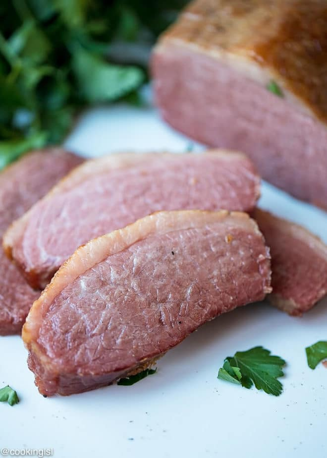 Slow Cooker Corned Beef Recipe, with a crispy outside and juicy outside. Minimal ingredients and prep work.