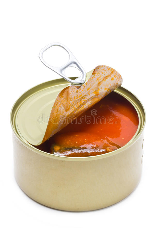 Can Open With Mackerel And Tomatoes Sauce Inside. royalty free stock photography