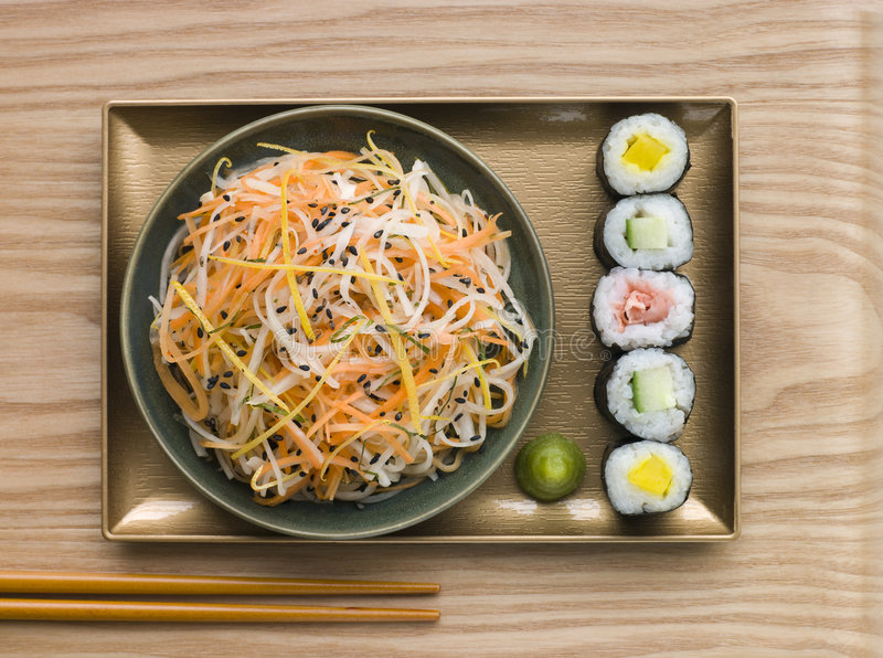 Daikon and Carrot Salad with Sesame Sushi royalty free stock images