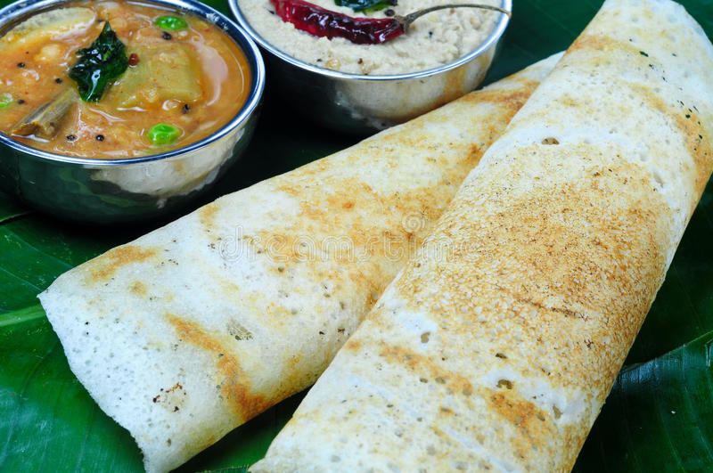 Dosa with Sambhar and chutney stock image