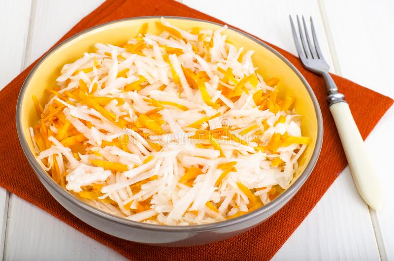Fresh daikon and carrot salad stock photo