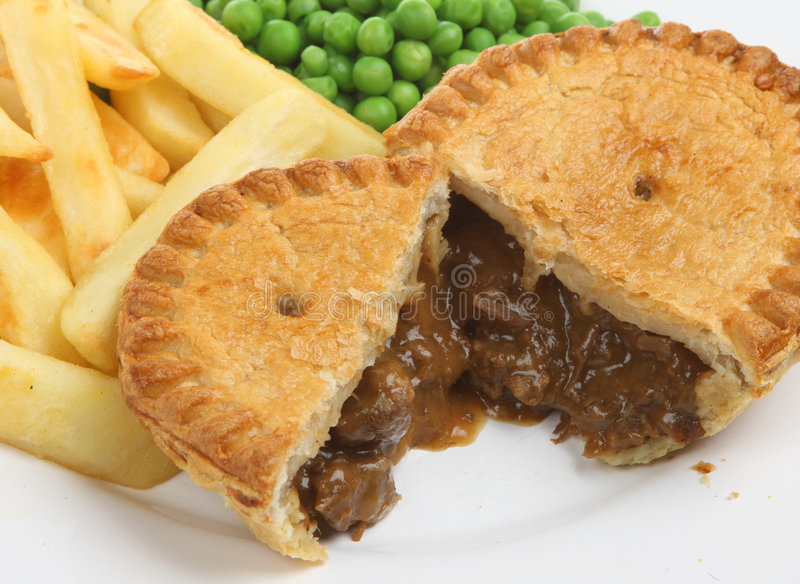 Steak & Kidney Pie with Chips royalty free stock image