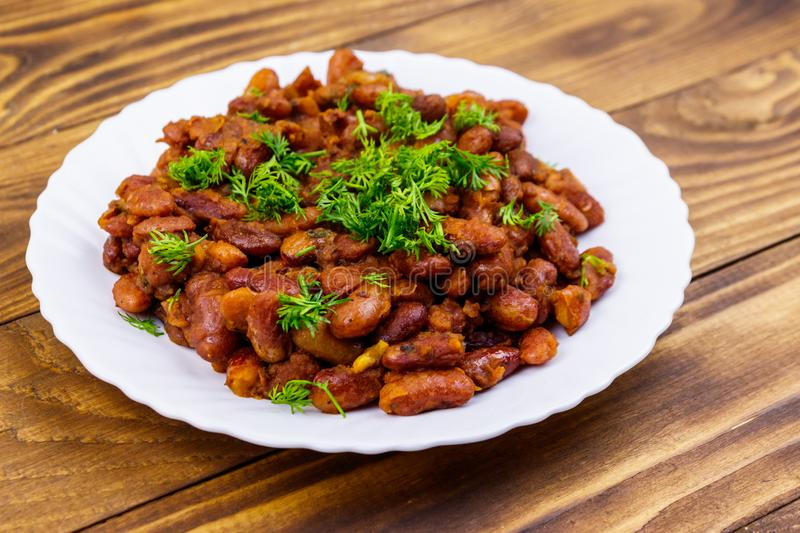 Traditional georgian kidney beans dish lobio on wooden table stock image